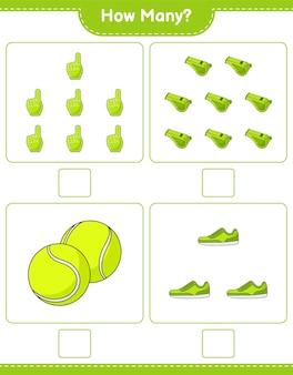 계산 게임 얼마나 많은 거품 손가락 휘파람 테니스 공 및 운동화 교육 어린이 게임