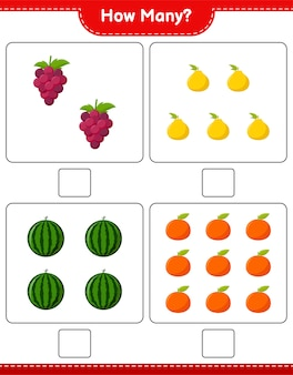 Counting game, how many fruits. educational children game, printable worksheet