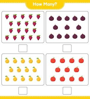 Подсчет игры, сколько фруктов. развивающая детская игра, лист для печати