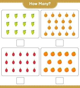 계산 게임, 과일 수. 교육용 어린이 게임, 인쇄 가능한 워크 시트