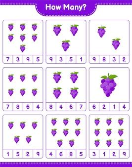 Подсчет игры, сколько винограда. развивающая детская игра, лист для печати