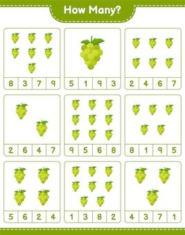 ゲームを数える、ブドウの数。教育的な子供向けゲーム、印刷可能なワークシート