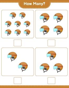 게임 하키 헬멧 교육용 어린이 게임 인쇄용 워크 시트 벡터 수 계산