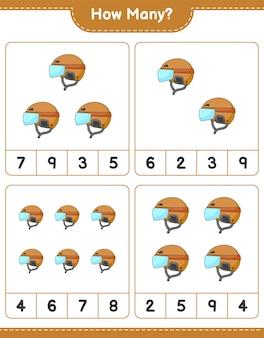 게임 하키 헬멧 교육용 어린이 게임 인쇄용 워크 시트 수 계산