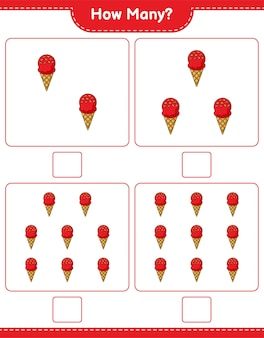 カウントゲーム、アイスクリームの数。教育的な子供向けゲーム、印刷可能なワークシート