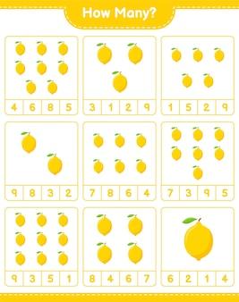 ゲームを数える、レモンの数。教育的な子供向けゲーム、印刷可能なワークシート