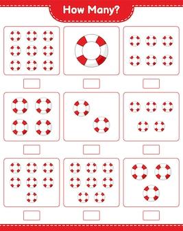 カウントゲーム、救命浮環の数。教育的な子供向けゲーム、印刷可能なワークシート