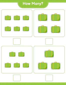 Counting game, how many luggage. educational children game, printable worksheet