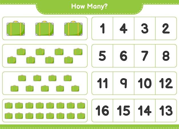 ゲームを数える、荷物の数。教育用子供向けゲーム、印刷可能なワークシート