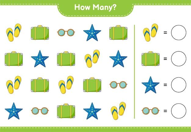 Подсчет игры, сколько багажа, морских звезд, солнцезащитных очков и шлепанцев. развивающая детская игра, лист для печати
