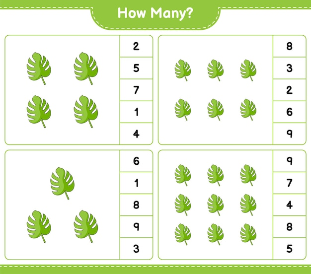 Counting game, how many monstera. educational children game, printable worksheet