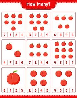 Подсчет игры, сколько нектарина. развивающая детская игра, лист для печати