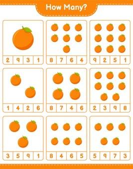 カウントゲーム、オレンジの数。教育的な子供向けゲーム、印刷可能なワークシート
