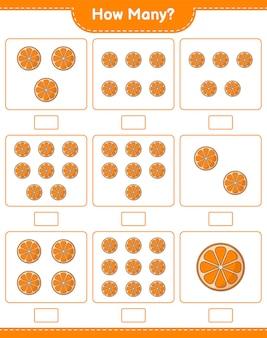 계산 게임, 오렌지 수. 교육용 어린이 게임, 인쇄 가능한 워크 시트