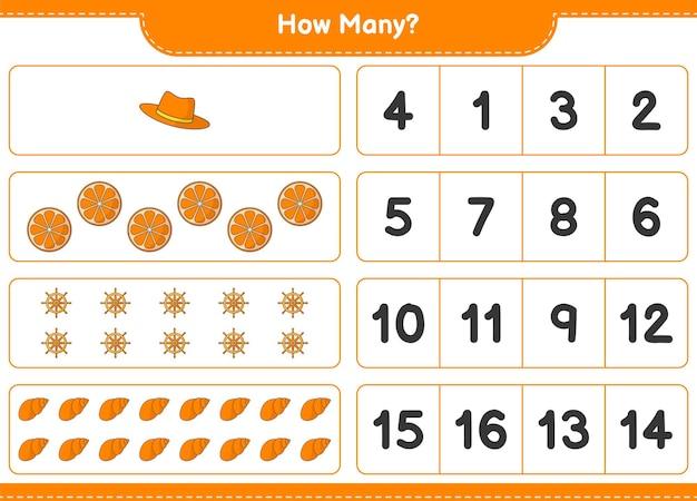 Подсчет игры, сколько апельсина, рулевого колеса корабля, ракушек и шляпы. развивающая детская игра, лист для печати