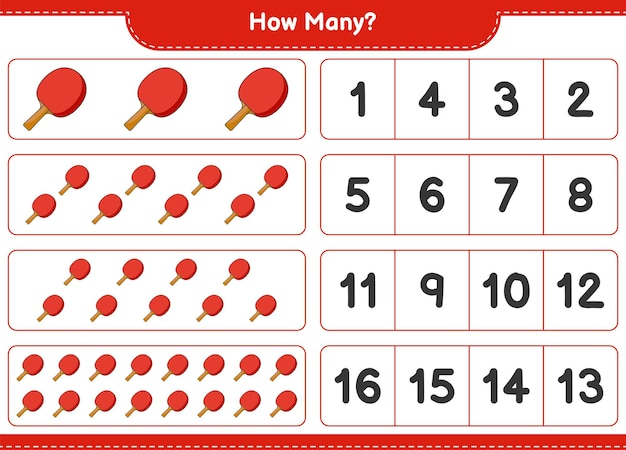 Counting game, how many ping pong racket. educational children game, printable worksheet, vector illustration