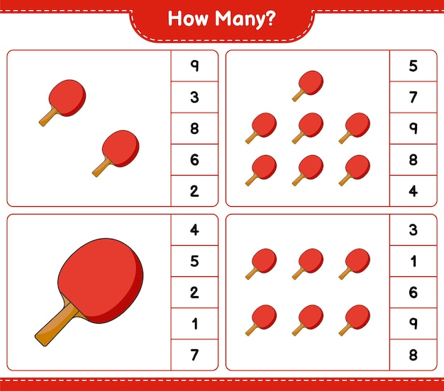 Counting game how many ping pong racket educational children game printable worksheet