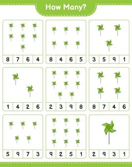 ゲームを数える、風車の数。教育用子供向けゲーム、印刷可能なワークシート