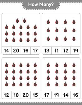 サンドバッグの数を数える教育的な子供たちのゲームの印刷可能なワークシート