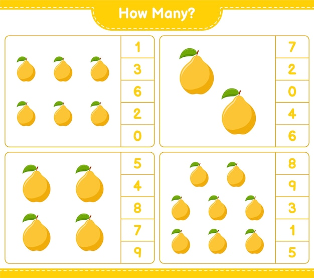 Counting game, how many quince. educational children game, printable worksheet