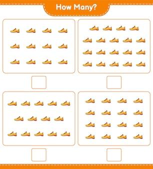 계산 게임 얼마나 많은 운동화 교육용 어린이 게임 인쇄용 워크 시트