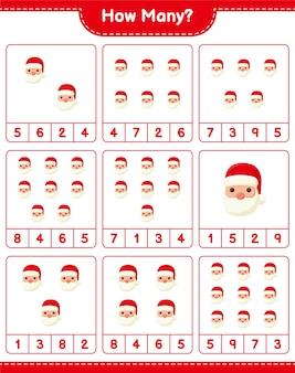 Подсчет игры, сколько санта-клаусов. развивающая детская игра, лист для печати