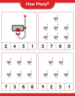 계산 게임, 얼마나 많은 스쿠버 다이빙 마스크. 교육용 어린이 게임, 인쇄 가능한 워크 시트