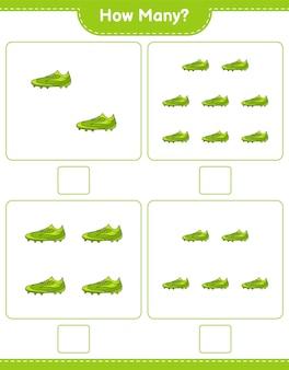 계산 게임 축구 신발 교육용 어린이 게임 인쇄용 워크 시트