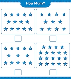 Counting game, how many starfish. educational children game, printable worksheet