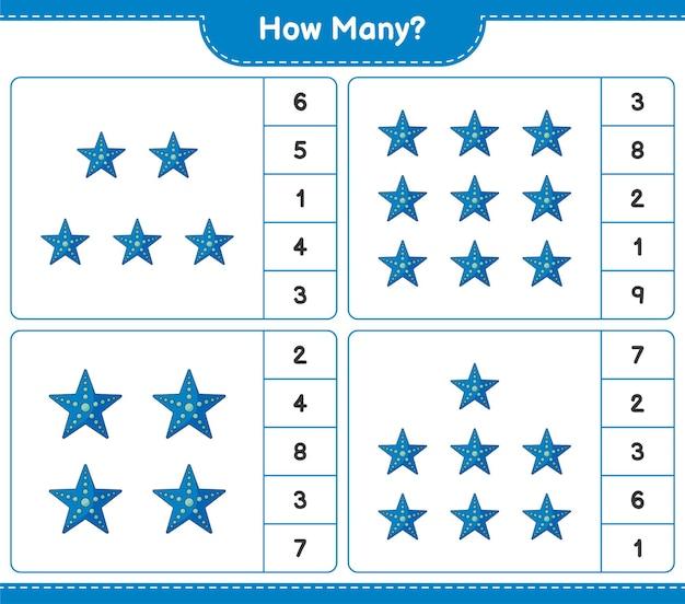 Подсчет игры, сколько морская звезда. развивающая детская игра, лист для печати