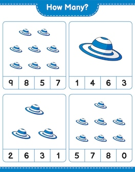 Counting game, how many summer hat. educational children game, printable worksheet