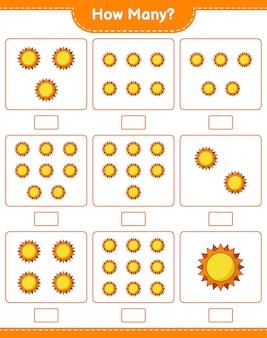 계산 게임, 얼마나 많은 태양. 교육용 어린이 게임, 인쇄 가능한 워크 시트
