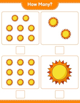 Counting game, how many sun. educational children game, printable worksheet