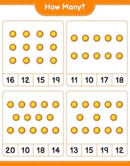 계산 게임, 얼마나 많은 태양. 교육용 어린이 게임, 인쇄 가능한 워크 시트 프리미엄 벡터