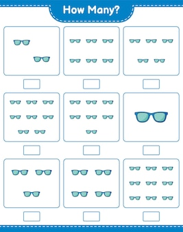 Counting game, how many sunglasses. educational children game, printable worksheet