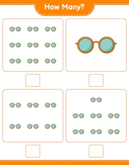 カウントゲーム、サングラスの数。教育的な子供向けゲーム、印刷可能なワークシート