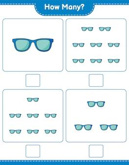 계산 게임, 얼마나 많은 선글라스. 교육용 어린이 게임, 인쇄 가능한 워크 시트