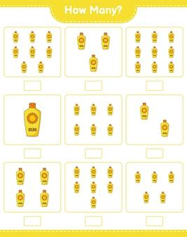 カウントゲーム、日焼け止めの数。教育的な子供向けゲーム、印刷可能なワークシート