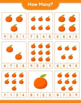ゲームを数える、タンジェリンの数。教育的な子供向けゲーム、印刷可能なワークシート