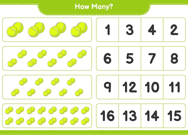 Counting game, how many tennis ball. educational children game, printable worksheet, vector illustration