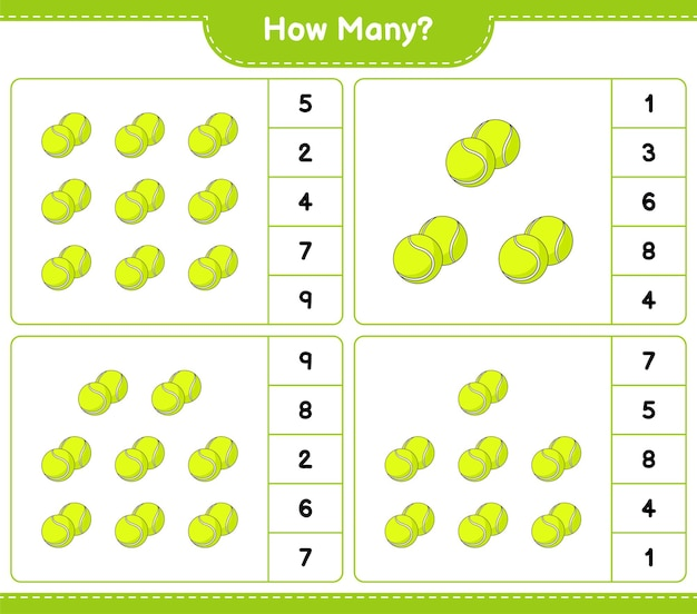 Counting game how many tennis ball educational children game printable worksheet