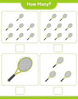 Counting game how many tennis racket educational children game printable worksheet