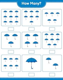 계산 게임, 얼마나 많은 우산. 교육용 어린이 게임, 인쇄 가능한 워크 시트