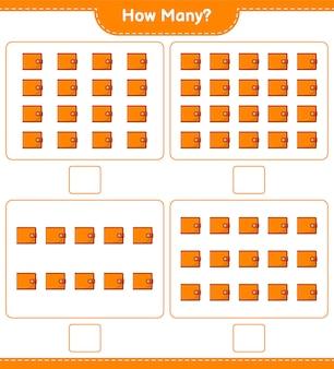 계산 게임, 지갑 수. 교육용 어린이 게임, 인쇄 가능한 워크 시트