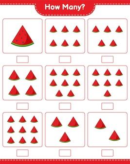 Подсчет игры, сколько арбузов. развивающая детская игра, лист для печати