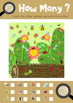 Counting game of insect bug animals