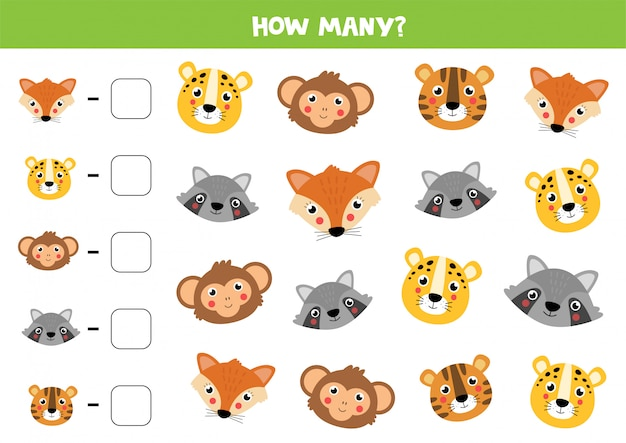 Counting game for kids. cute animals face. math worksheet.