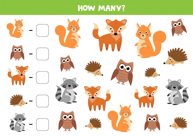 Counting game for kids. cute woodland animals.