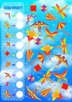 Counting game for kids education template with kites flying in blue sky