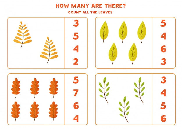 Counting game for kids with autumn leaves.